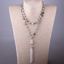 Free Shipping Bohemian Jewelry Amazonite Stones Rosary Chain Pearl & Crystal Tassel Necklace For Women(China)