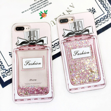 Fashion Luxury Girl Pink Bling Perfume Bottle Phone Case For X iPhone 7/8 plus 6plus Quicksand Dynamic Liquid Glitter Back Cover(China)