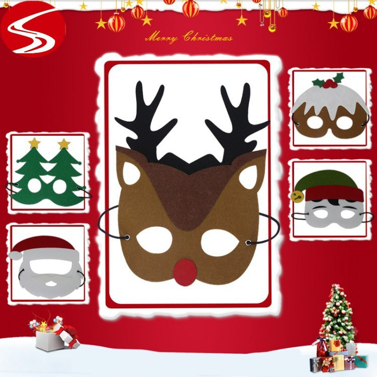 1PC Christmas Superhero Halloween Costumes Cosplay Mask Christmas tree Santa Claus reindeer Snowman Mask Kids Birthday Party