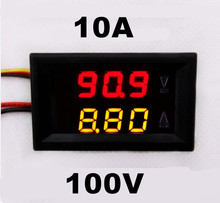 DC 0-100V 0-10A car Voltmeter Ammeter tester Panel LED Dual Display five wires Current Voltage Monitor Volt Amp meter