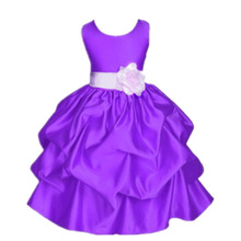 Fashion child pageant dresses sleeveless satin children girls dress kids frock designs purple gowns for girls