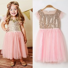 2016 Girl Pageant Shiny Sheer Sequins Wedding Dress Summer Tulle Girls Dress Lace Top Grace Classic Kids Dress Children Wear
