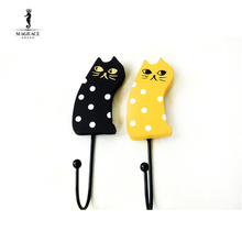 Wood Retro European Pastoral Yellow/Black Cat Hook Rural Coat Bag Hanger Hooks Kitchen Bathroom Wall Door Holder Fridge Magnet