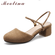 Meotina 2017 Designer Women Shoes Narrow Band Ladies Pumps Casual Mid Thick Heels Fashion Pumps Mules Shoes Red Big Size 9 10 43