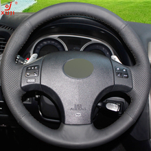XUJI Black Genuine Leather DIY Hand-stitched Car Steering Wheel Cover for Lexus IS is250 is300 is350(China)