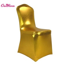 5pcs/lot Gold/Silver Bronzing Elastic Chair Cover Spandex Metallic Coverings for Wedding Banquet Decoration(China)
