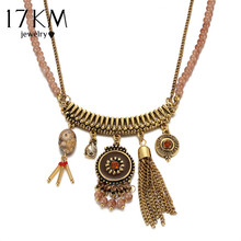 17KM Vintage Bohemian Pendant Necklaces Jewelry for Women Antique Gold Color Tassel Beads Chain Stone Choker Ethnic Jewellery(China)