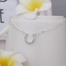 New Arrival!!Wholesale 925 Sterling Silver Anklets,925 Silver Fashion Jewelry,Inlaid Stone U Anklets SMTA023
