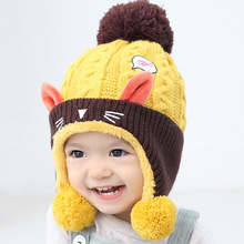 2016 Cat Baby Hat Cotton Infant Caps Warm Plus Velvet Beanies Cute Winter Girl Hats Autumn Toddler Headgear Ear Boys Accessories(China)