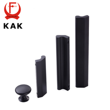 KAK American Style Black Aluminium alloy Handles Cabinet Drawer Knobs Wardrobe door handles pulls Solid furniture handles