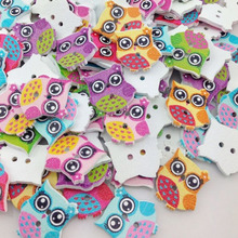 50Pcs Colorful Print Owl Tower Wood Buttons Clothing Sewing Tool Accessories WB207