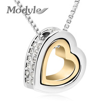 Modyle Brand Gold-Color Austrian Crystal Luxury Brand Heart Necklaces & Pendants Fashion Jewelry for Women 2017