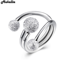 MAKALLIA Authentic 925 Sterling Silver opening Frosted beads  Ring Micro Pave for Women Wedding Jewelry free shipping