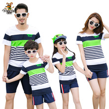 Matching Family Clothing Fashion Mother Daughter Clothes Striped T shirt Shorts Family Matching Outfits Father Son Clothes Set(China)