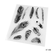 Beautiful Feather Silicone Transparent Stamp Clear Stamps Set for DIY Scrapbooking Photo Album Decoration Supplies(China)