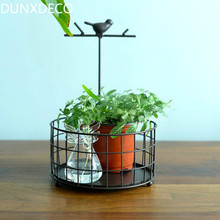 DUNXDECO Vintage Bird Round Iron Antique Imitation Style Multifunction Home Office Storage Table Organize Decor Photo Prop