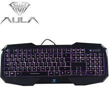 Original AULA Ergonomic Illuminated LED Backlight Gaming Keyboard with 3-Color Light For Gamer Computer with FN key(China)