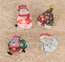 1x Lighted Santa Claus Snowman Tree Brooch Christmas Decoration Scarf Clothespins Hanging Ornament Children Gifts SD12