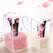 Brand New Pen Holder Organizer Transparent Acrylic Makeup DIY Brushes Case Holder Cosmetic Display Box Faux Pearls  two size