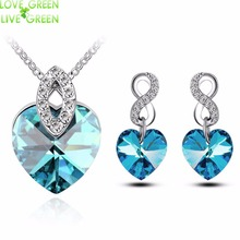 new austrain crystal girl Women's Fashion Crystal Rhinestone Gift Love Heart Pendant Necklace earrings jewelry sets 84074