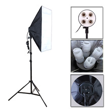 Photo Studio Softbox Kit  Four Socket Lamp Holder + 50*70CM Flash Lighting Softbox +2m Light Stand Photo Soft Box