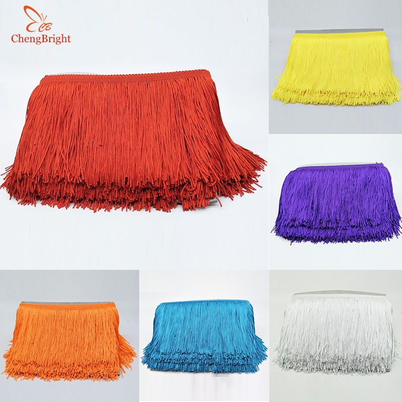 2 Yards Fringe TrimTassel 8 inch Wide for Clothes Accessories and Latin Wedding Dress and DIY Lamp Shade Decoration Gold