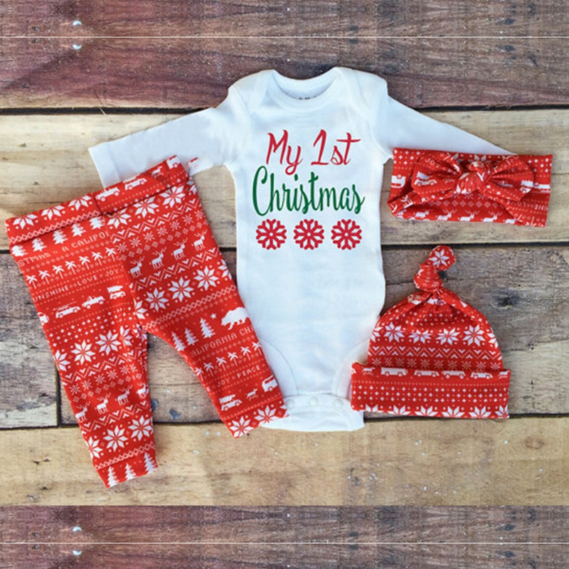 Red Christmas cotton printing suite children s baby long - sleeved harness trousers hat headband baby 4 sets<br><br>Aliexpress
