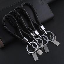 1 PC Black Leather Keychain Holder Keyring Silver Key Car Chain Rings Women Men Jewelry 2017