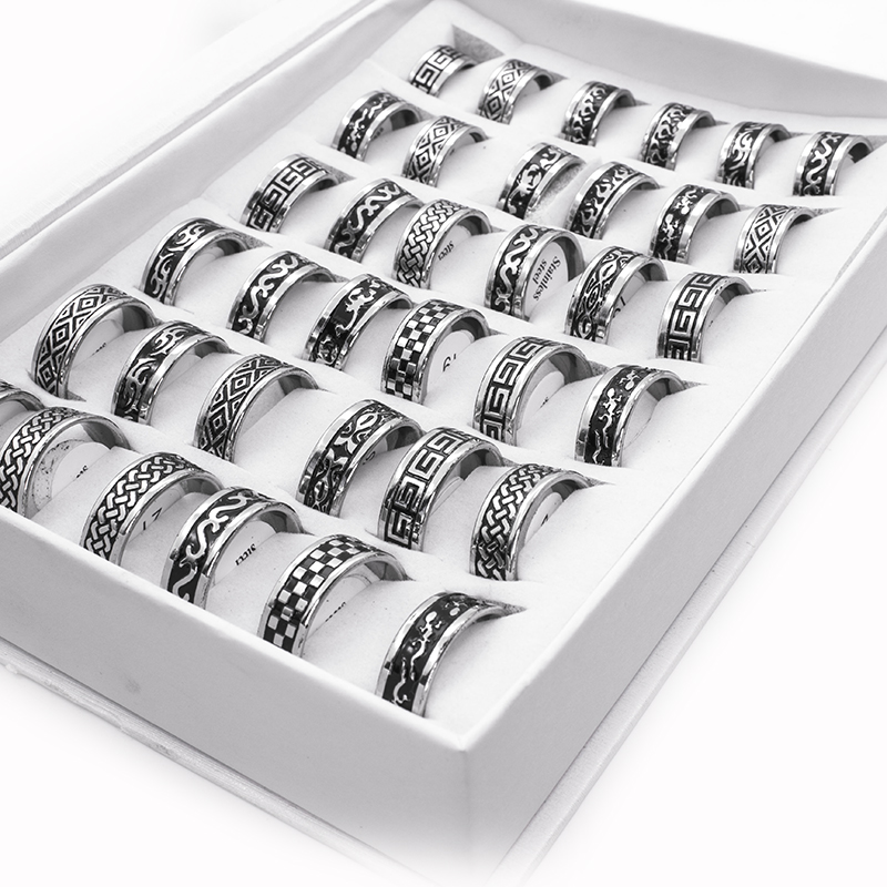 Vintage Style Unisex Stainless Steel Rings [ 100 piece lot ] 4