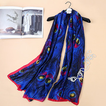 Peacesky Luxury Brand New Europe Style Peacoke Feather Print Women Silk Scarf Elegant Shawl Autumn Warm Sunscreen Soft Scarves(China)