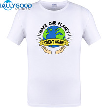 Make our Planet Great Again Global Warming public welfare Design Mens T-Shirt New Arrival Summer Cotton Tops Plus Size Tee shir(China)