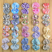 20pcs/lot  Fabric  Boutique Hair Bows Flower Pattern Baby Hairbows Children Headbands Hair Ornaments  F116