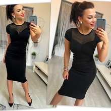 Sexy Club Dress 2017 Brand New Women Black Bandage Sheer Dress O neck Short Sleeve Business Pencil Dress Knee Length Workwear