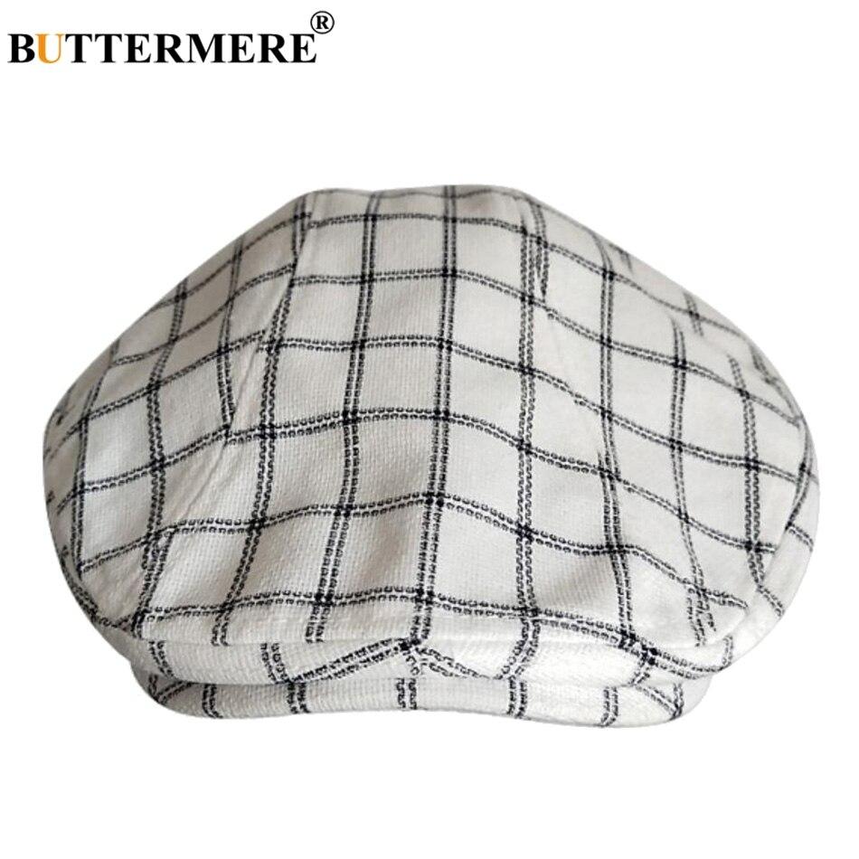 ... BUTTERMERE Berretti piatti in cotone per uomo pied-de-poule nero  berretto maschile casual Uv Duckbill edera berretto vintage autunno  registri cappello ... dae84f9d29c6