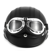 Newest Fashion Brown Synthetic Leather Vintage Motorcycle Helmets Vespa Open Face Half Motor scooter Helmets & Visor & Goggles