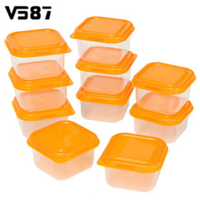 10Pcs Reusable Mini Plastic Food Storage Boxes Containers Snack Nut Fruit Organizer Box Set With Lids Kitchen Accessories