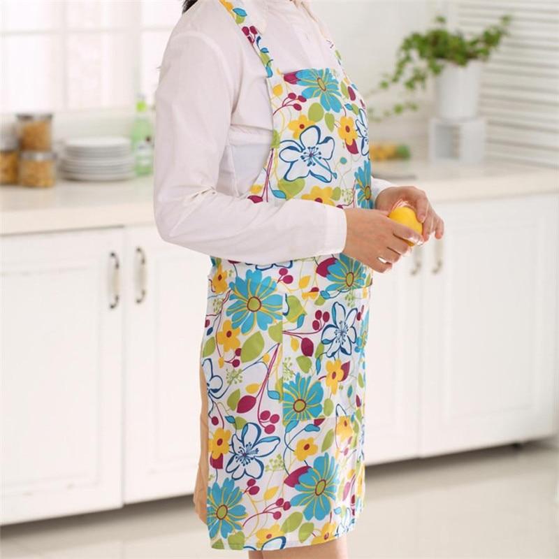 Women Dress Restaurant Home Kitchen Cooking Apron Bib Floral Pattern Precise04