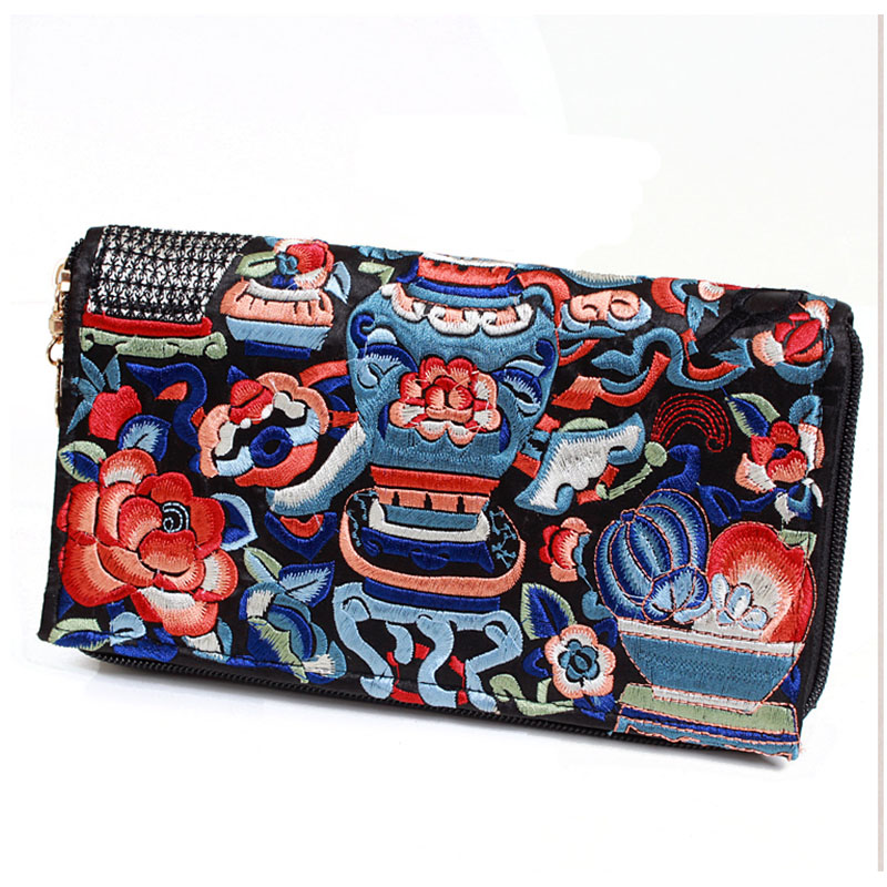 XIYUAN BRAND satin women girls long clutch Wallet female Purse Handmade long style clutch hand Bag Coin Purse Money card Bag <br>