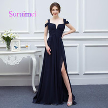 New Sexy Sweetheart Galajurken Chiffon Split Navy Blue Cheap Prom Dresses 2017 Long Vestido De Festa Formal Evening Party Dress