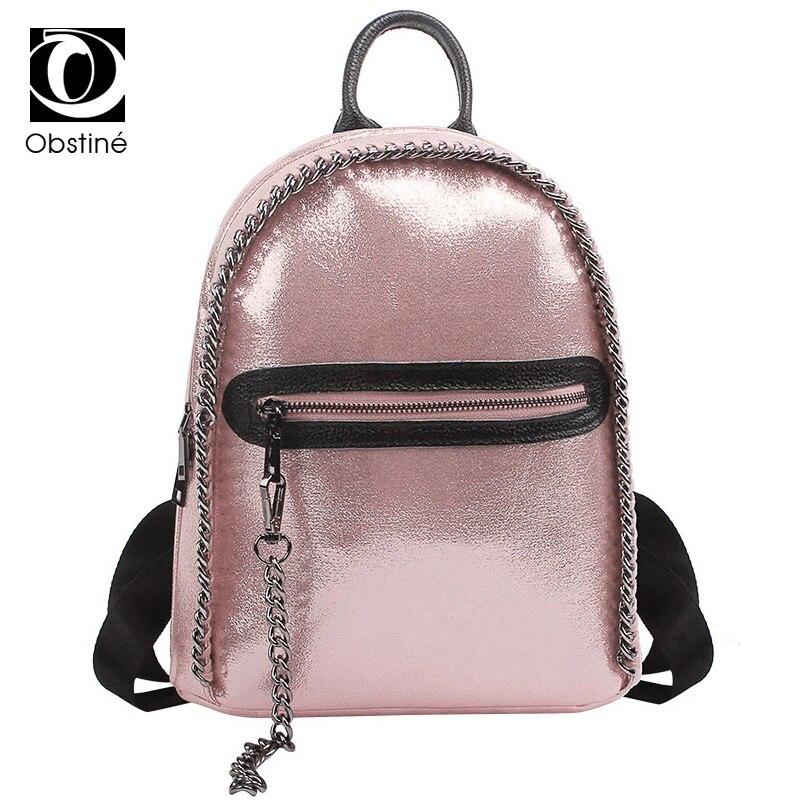 Fashion Women Silver Backpack Glossy Cute School Backpacks For Teenage Girls PU Leather Shouler Bag Casual Chain Rucksack Womens<br>