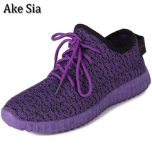 Ake Sia New Youth Women's Autumn Lightweight Breathable Air Mesh Casual Shoes Female Flat Leisure Mujer Zapatillas NO LOGO F004(China)