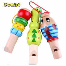 Surwish 1 pcs Wooden Random color Toys Cartoon Animal Whistle Educational Music Instrument Toy for Baby Kids Children(China)