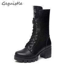 Women Winter boots Leather Warm Boots High-heeled Martin Boots