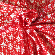 By Meter Lycra Satin Material Red Snow Floral Design Satin Fabric Christmas Decor Textile Soft