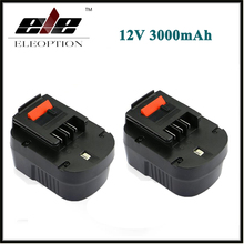 2 pcs Eleoption 12V 3000mAh NI-MH Replacement Power Tool Battery For Black&Decker A12, A12-XJ, A12EX, FS120B, FSB12, HPB12(China)
