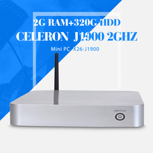 Fan industrial mini desktop computer celeron J1900 2gb ram 320gb hdd+wifi mini desktop pc deluxe computer mini pc thin client(China)