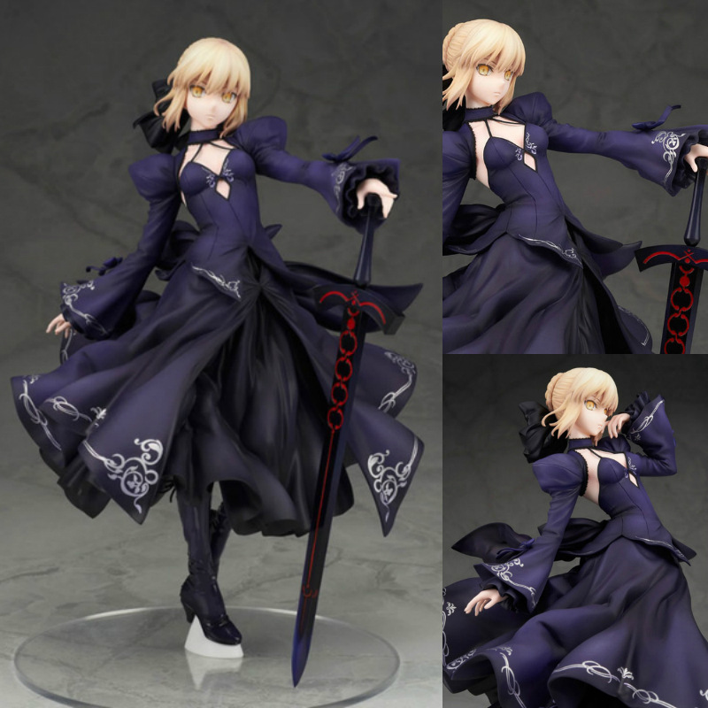 Japanese Anime PVC Action Figure Fate Stay Night Unlimited Blade Works Saber Black Evening Dress Version collectible Figurines<br>
