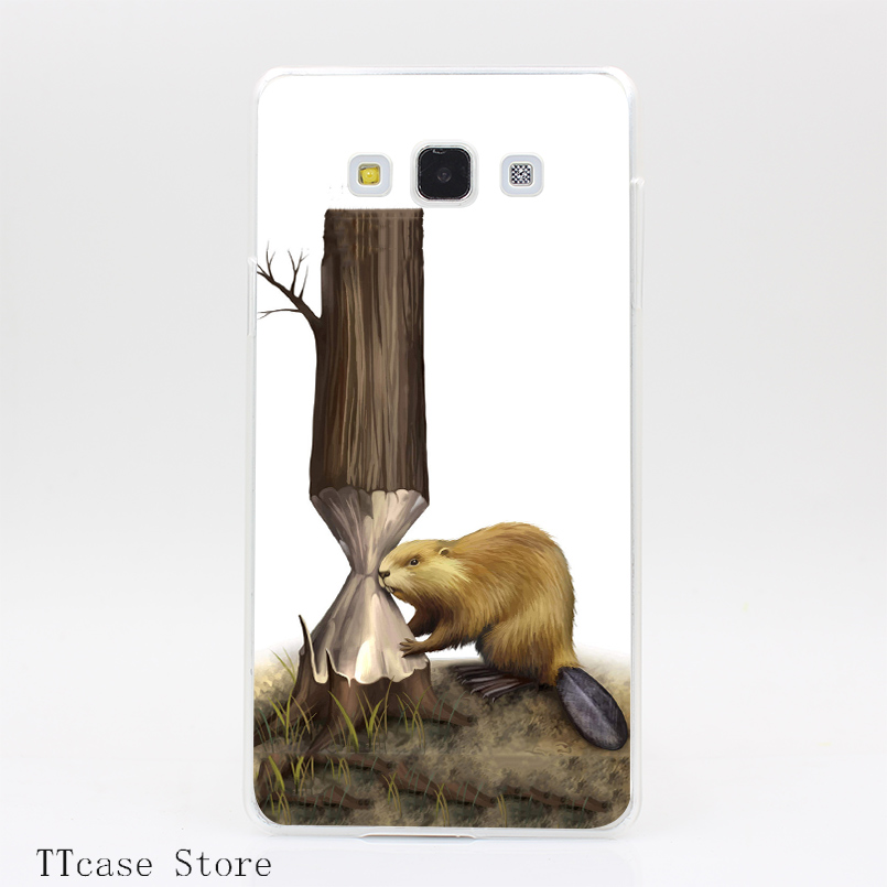 2603CA Paint Cute Animal mink Transparent Hard Cover Case for Galaxy A3 A5 A7 A8 Note 2 3 4 5 J5 J7 Grand 2 & Prime