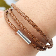New Arrival 2x Mens Boys PU Leather Wristband Bracelet Interlaced Wrap Cuff Weave Bangle(China)
