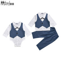 Mikrdoo baby boy denim white bow shirt+suit pants fake 2 pieces kids clothes set fashion gentleman formal handsome Age 0-2 Years